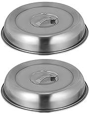 UPKOCH 2 stycken rostfritt stål matklocka tallrik lock teppanyaki lock mat biff skydd hamburgare smältkupol ost huva kupol för cheesburger klocka (silver)