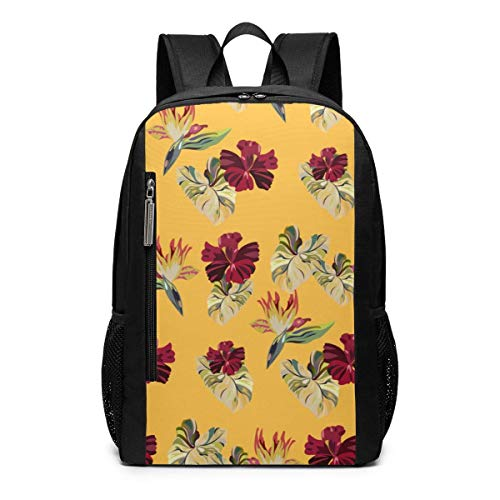 AOOEDM Backpack 17 inch Hawaiian Plants Outdoor Travel Laptop Backpack Travel Accessories, Fashionable Backpack Suitable for 17 Inches