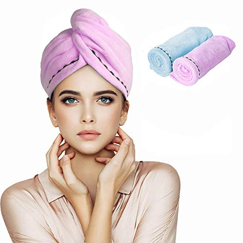 Orthland Microfiber Hair Towel Wraps for Women [2 Pack] Quick Dry Anti-frizz Head Turban for Long Thick & Curly Hair, Super Absorbent Soft (2 Pack-Blue+Purple)