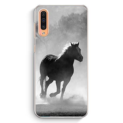 Pferd Grau Foto - Hülle für Samsung Galaxy A50 - Motiv Design Tiere Schön - Cover Hardcase Handyhülle Schutzhülle Case Schale