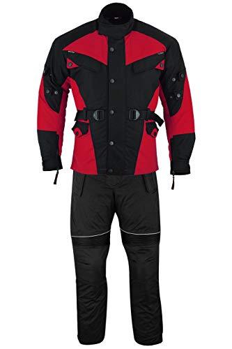 German Wear 2-teiler Motorradkombi Cordura Textilien Motorradjacke + Motorradhose, 52/L, Rot/Schwarz