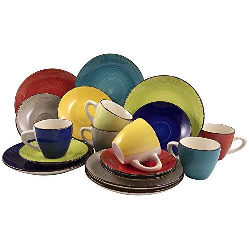18-tlg. Kaffeeservice aus Porzellan für 6 Personen - Kaffeetassen Teetassen Kaffeebecher Tassen Dessertteller Kaffee-Service Farbe Malaga