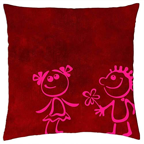 BXBX Funda de Almohada (20 x 20 Pulgadas) - Fondo de Amor afecto Regalo romántico 5