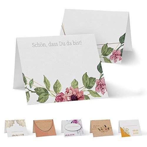 Partycards 50 Tischkarten/Platzkarten DIN A7 für Hochzeit, Geburtstag, Kommunion, Taufe (Blumen Rosen)