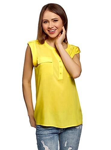 oodji Collection Mujer Blusa de Viscosa con Bolsillos en el Pecho, Amarillo, ES 44 / XL