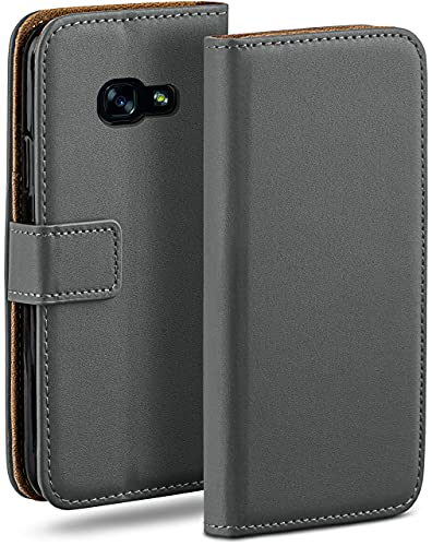 moex Klapphülle kompatibel mit Samsung Galaxy A5 (2017) Hülle klappbar, Handyhülle mit Kartenfach, 360 Grad Flip Hülle, Vegan Leder Handytasche, Dunkelgrau