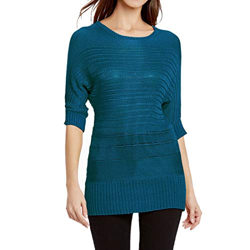 Yczx Jumpers Women Round Neck 3/4 Sleeves Slim Solid Color Knitted Tops Autumn Spring Knitted Tshirts Sweater Comfortable Soft Lightweight All-Season Pullovers Top L