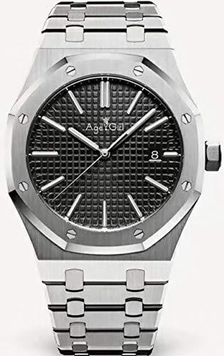 HHBB Marca de lujo para hombre reloj de acero inoxidable automático mecánico 18k oro amarillo azul negro zafiro nuevo ver a través de relojes Aaa+ negro