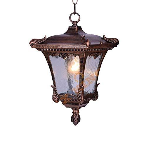 AISHANG Lámpara Colgante de Estilo Europeo para Exteriores Lámpara Colgante de Vidrio para Porche Tradicional Impermeable Luz de Techo de Aluminio Fundido a presión Decoración de PAI