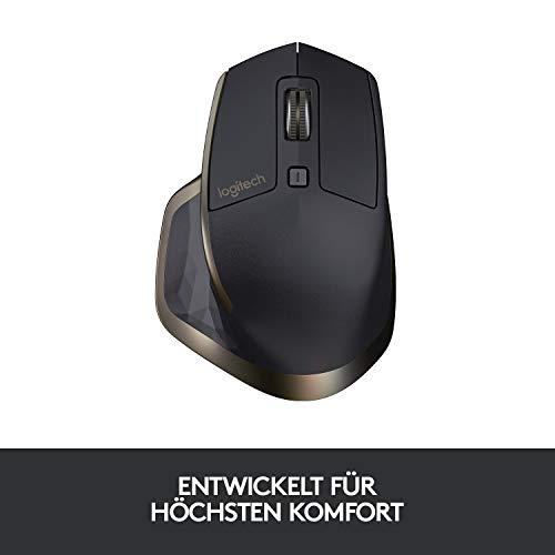 Logitech MX Master Kabellose Maus Amz, Bluetooth/2.4 GHz Verbindung via Unifying USB-Empfänger, 1000 DPI Sensor, Wiederaufladbarer Akku, Multi-Device, Für alle Oberflächen, 5 Tasten, PC/Mac - schwarz - 4