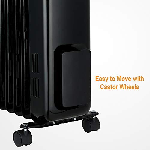 ANSIO Oil Filled Radiator Heater with 11 Fins and Remote,Oil heater,Portable Electric Heater,Oil radiators with Thermostat,24Hr Built-in Timer,Child Lock,Overheat,Accidental Tip-Over Protection 2300W