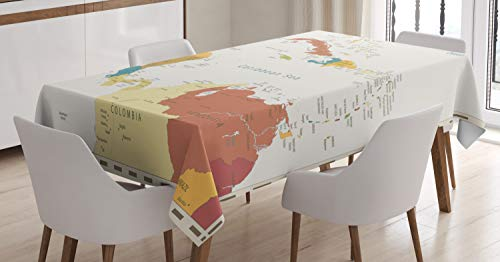 Ambesonne Vintage Cartography Tablecloth, Retro Map Americas Carribean Sea, Rectangular Table Cover for Dining Room Kitchen Decor, 60' X 84', Eggshell Multicolor