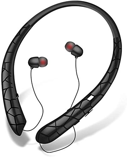 Bluetooth Headphones LIUHE Wireless Headphones with Retractable Earbuds Neckband Headset with Mic Sport Sweatproof Stereo Earphones (16 Hours Work Time, Noise Cancelling, Bluetooth 5.0) (Black)