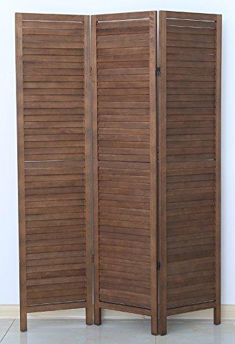 PEGANE Biombo persiana de Madera de 3 Paneles, Color marrón - Dim : A 170 x A 120 cm