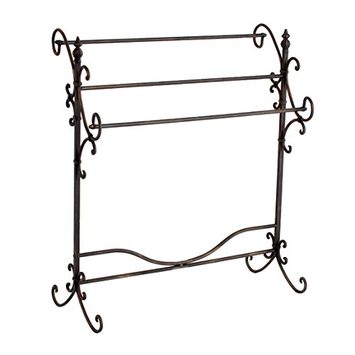 SEI Furniture Scroll 3 Blanket Rack - Store Quilts, Comforters, Towels - Elegant Iron Metal Frame