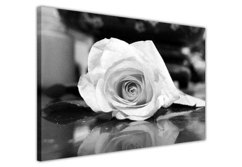 CANVAS IT UP Blumen Leinwandbild, Kunstdruck Bilder Schwarz und Weiß Rose Romantische Foto Druck Raum Dekoration Fotos Home Décor