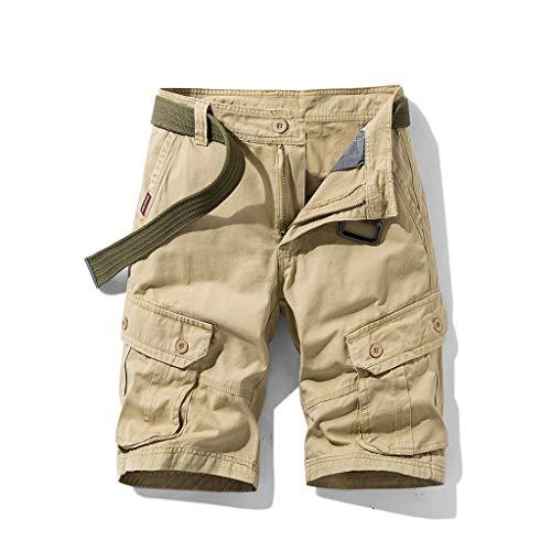 FRAUIT Pantaloncini Uomo Cargo Slim Pantaloni Corti da Ragazzo con Cintura Regular- Fit...
