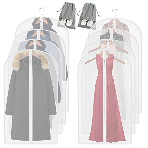 homeminda Garment Bags for Storage,8 Packs 55in Clear Moth Proof Hanging Lightweight Breathable Dust Covers with 2 Overshoes and Study Full Zipper for Long Dress Jacket Coat Clothes Clothing