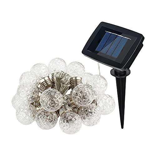 Baoblaze Infrangibile LED Solar Powered Luci della Stringa Esterna con 20 Lampadine Luce Bianca Calda per Cortile Portico del Partito - Nessun Controllo remoto