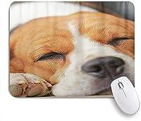 NIESIKKLAマウスパッド 眠そうなビーグル犬子犬ハウンドかわいいペット ゲーミング オフィス最適 高級感 おしゃれ 防水 耐久性が良い 滑り止めゴム底 ゲーミングなど適用 用ノートブックコンピュータマウスマット