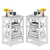 VECELO Modern Versatile Nightstands X-Design Side End Table Night Stand Storage Shelf with Bin Drawer for Living Room Bedroom, Set of 2 (White A2)