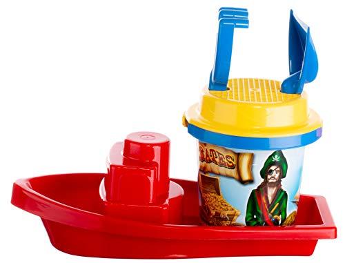 Brandsseller Juego de juguetes de arena de piratas, 7 piezas, juguete para la playa, juguete infantil, barco grande, 2 moldes, cubo, colador, pala, rastrillo