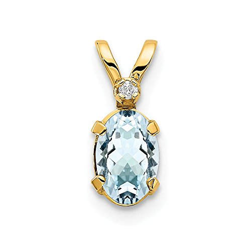 14k Yellow Gold Diamond Blue Aquamarine Birthstone Pendant Charm Necklace March Oval Fine Jewelry For Women Gifts For Her