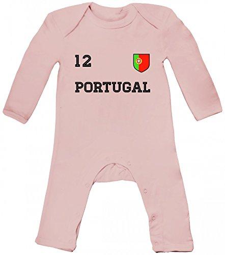 Wappen Fußball WM Fanfest Gruppen Baby Strampler Langarm Schlafanzug Jungen Mädchen Trikot Portugal, Größe: 3-6 Monate,Powder Pink