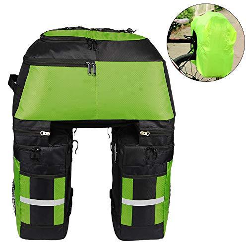 Lixada Bolsas multifuncionales para alforjas de bicicleta - Bolsa de asiento trasero grande resistente a la rotura de 70 L 3 en 1 [Verde]