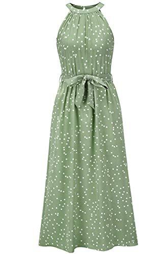 keland Damen Boho Maxi Long Halfter Freizeitkleider Shirt Belted Tiered Polka Dot Kleid (Grün, M)