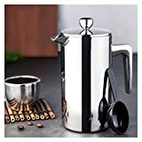 French press coffeemaker 350/700/1000ml Percolator Cafe Double Layer Press Kitchen Office Handheld French Home Manual Kettle Stainless Steel Coffee Maker Case coffee machines (Color : 1000ml)