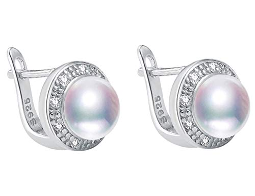 Pearl Stud Earrings for Women 925 Sterling Silver Bread Round High Luster Flawless 8-9mm AAAA Quality Handpicked Freshwater Cultured Pearl