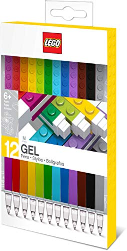 Lego Stationery Colored Gel Pens 12 Pack with Building Bricks - .7mm