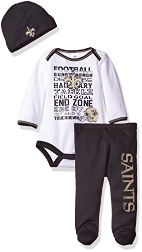 Gerber Childrenswear NFL New Orleans Saints Bodysuit, Pants & Cap Set, 0-3 Months, Black