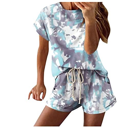 Briskorry Damen Jogginganzug Zweiteiler Sommer Outfits Sportanzüge Batik Kurzarm Freizeitanzug Outfits Kleidung Streetwear Anzug Top und Kurze Hose für Mädchen