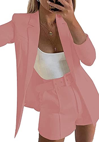 2 Piece Outfits for Women Long Sleeve Solid Open Front Blazer Shorts with Belt Casual Elegant Business Suit Sets