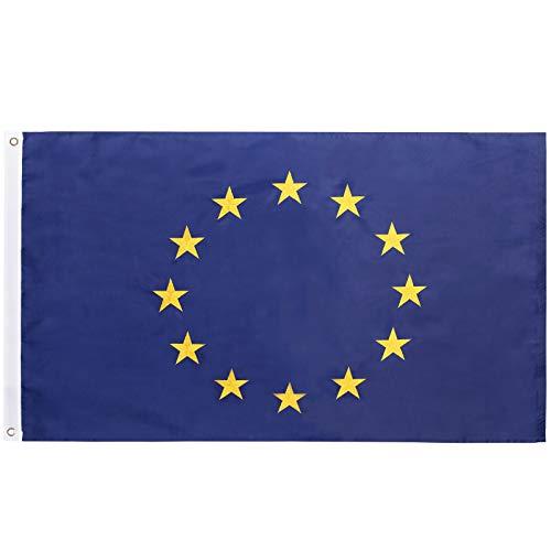 FLAGBURG Europäische Union Flagge 90 x 150 cm, Europa Flagge mit Euroblau gestickten Sternen und Messingösen, Lebendige Farbe und UV-beständig, Hochbelastbares Nylon EU Fahne für Draußen und Drinnen