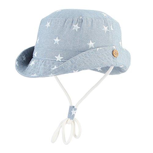 DEMU Baby Hut Unisex Kinderhut Fischerhut Sonnenhut Strandhut Babymütze Sonnenschutz UV-Schutz Hellblau Sterne Hut Umfang 48cm