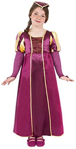 Smiffys Kinder Tudor Mädchen Kostüm, Kleid und Kopfbedeckung, Größe: M, 38649