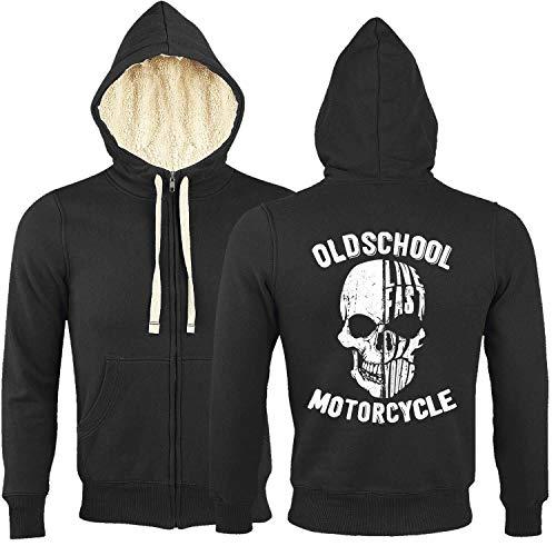 Rebel on Wheels Sherpa Zip Hoodie Kapuzenjacke gefüttert Damen Herren Schwarz Motorcycle Motorrad Biker Oldschool Motorcycle XS