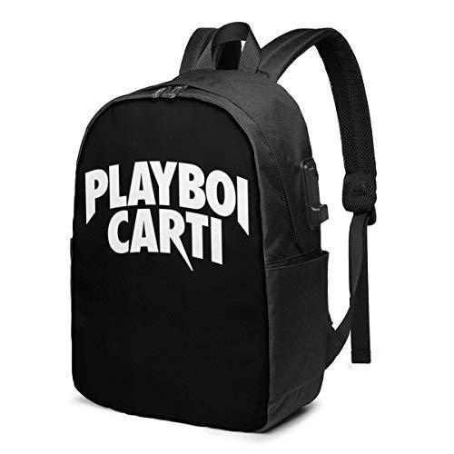 HOIH Playboi Carti 17 Pulgadas, Mochila Ultrafina con Puerto de Carga USB, Mochila para computadora portátil