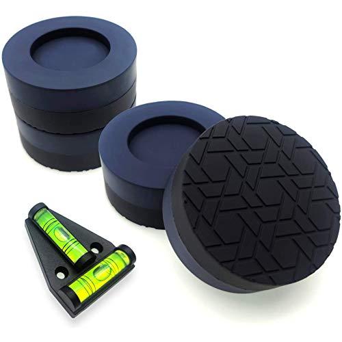 sciuU Amortiguador de Vibraciones para Lavadora & Secadora [juego de 4] con Herramienta de Nivel de Burbuja, Universal Almohadillas Amortiguadora Antideslizante Protección del Piso