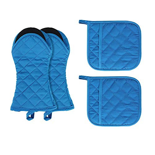 Dynadans Oven Mitts and Potholders,4PCS Heat Resistant Kitchen Gloves,Cotton Lining Non-Slip Rubber Surface 2 Oven Mitts,2 Pot Holders for Cooking,Baking,Grilling,Barbecue,Navy blue