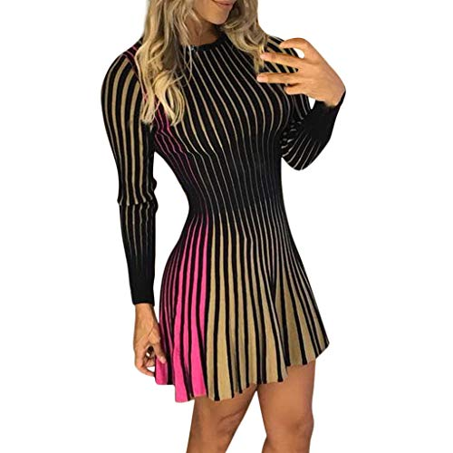 Lotus.Flower Women Long Sleeves Color Patchwork Striped Party Evening Club Bodycon Mini Dress (L, Yellow)