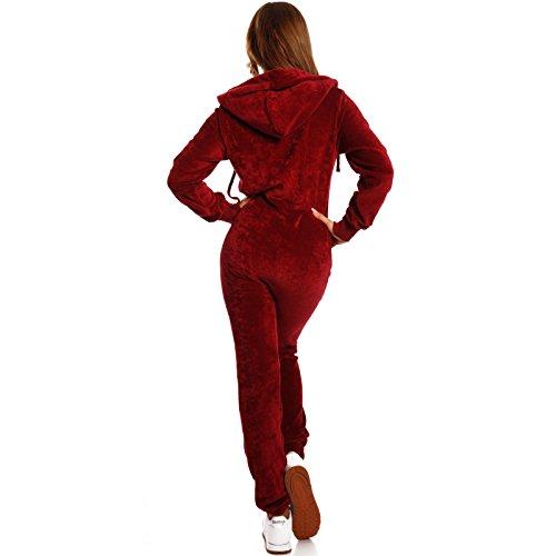 Crazy Age Damen Jumpsuit aus Samt (Nicki, Velvet) Wohlfühlen mit Style. Elegant, Kuschelig, Weich. Overall, Ganzkörperanzug, Jogging - Freizeit Anzug, Onesie (Weinrot, L) - 2