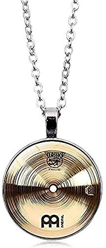 Halskette Geschenke Mode Vintage Legierung Glas Runde Cabochon Halskette Anhänger Halskette Schlagzeuger Becken Halskette Frauen Schmuck