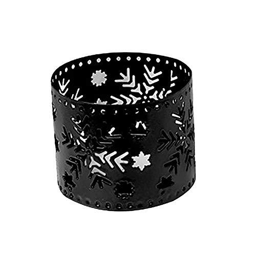 TankMR kaars ijzeren theelicht kaars lampenkap officiële kaars kaars kaarsenstandaard retrostijl voor thuis party buiten Halloween kerstdecoratie Flocon de neige* Wit.