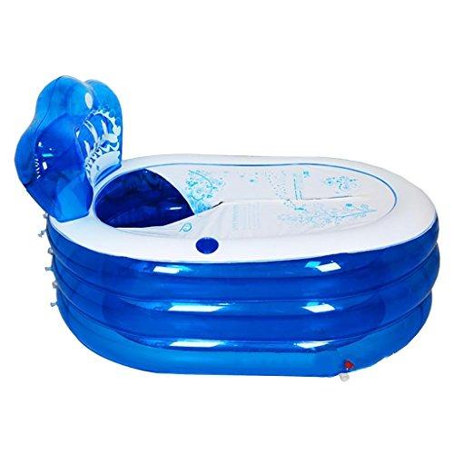 Nouvelle Baignoire Électrique Surdimensionnée Pompe Gonflable Baignoire Adulte Douche en Plastique Baignoire Baignoire Pliante Bleu (Taille : 160cm)