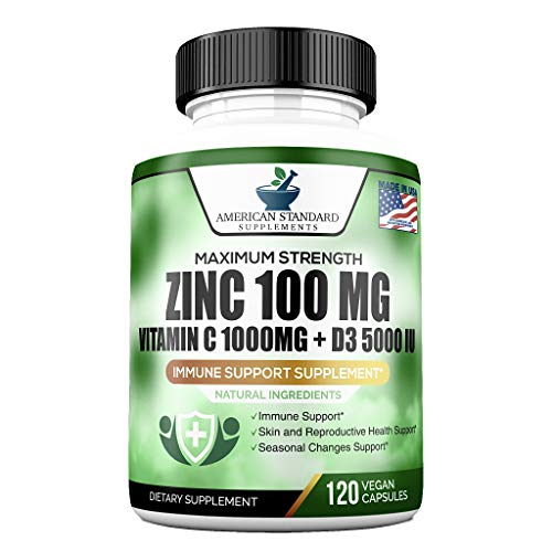 Zinc 100mg, Vitamin C 1000mg, Vitamin D 5000IU per Serving, Immune Support for Adults Kids, Immune System Booster Supplements, Non GMO, No Filler, No Stearate, 120 Vegan Capsules, 60 Day Supply