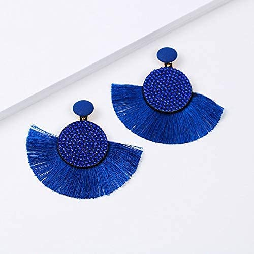 MENG Colorful Crystal Tassel Clip on Ears for No Pierced Women Charm Ears Fashion Jewelry W Statement Fe Ear Clips,Blue